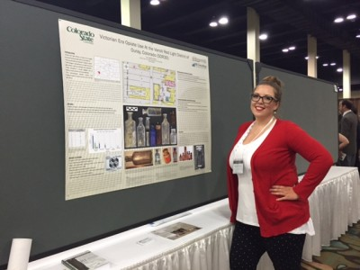 Virginia Clifton presenting her poster at the 2016 SAA annual meeting.