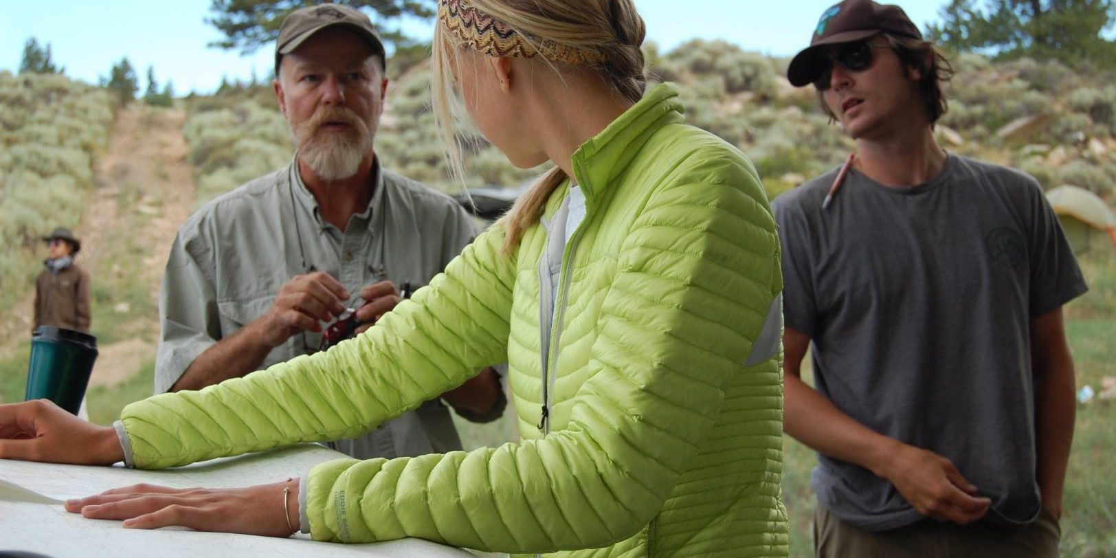 Dr. Rich Adams talking with student Hallie Meeker during 2014 Archaeology Field School