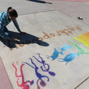 Colorful Anthropology chalk-artwork on the CSU plaza