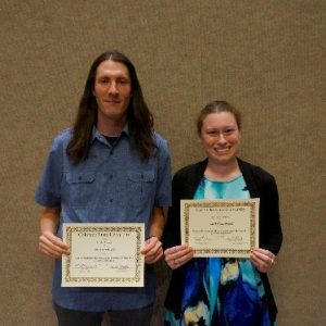 Ben Rodwell and Rachel Bockrath receiving Awards for their projects at the 2017 Celebrate Undergraduate Research and Creativity