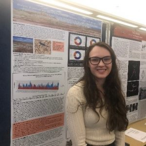 Elizabeth Larson presenting her research at the 2018 Capstone Poster Symposium
