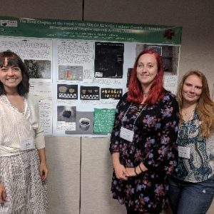 Marie Taylor, Amberle Czubernat, and Alyssa Axe co-presenting their research at the 2018 Plains Anthropological Conference