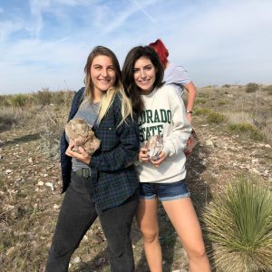 Undergraduate Students Alaura Hopper and Madeline Kunkel at the Alibates quarry in Texas in 2018