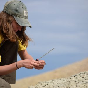 Sammi Lauth looking at a fossil during the 2018 Paleontology Field School.