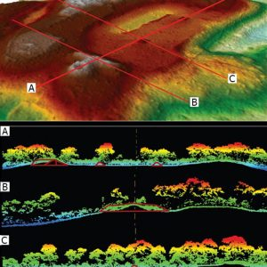 Lidar scans reveal the bumps of archaeological features at a site in Mexico. Image: Chris Fisher