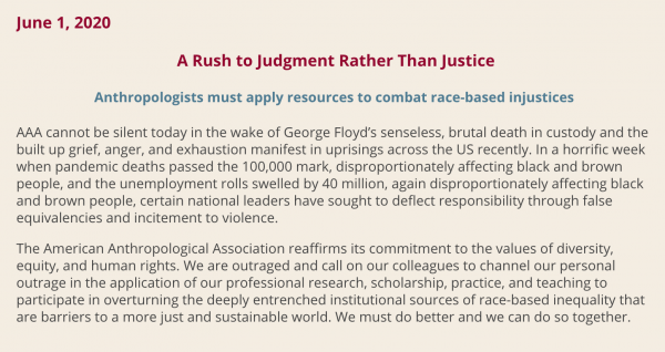 Screen grab of AAA statement following George Floyd death