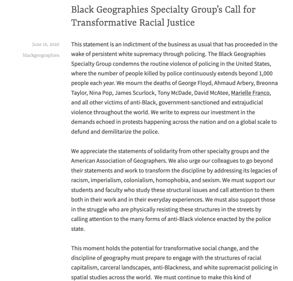 Black Geographies Specialty Group's Call for Transformative Racial Justice