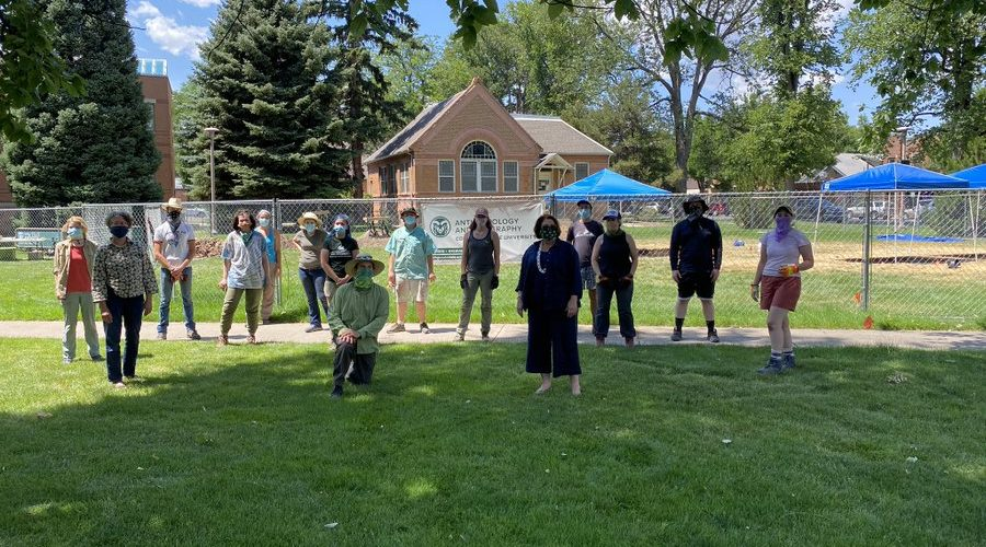 Archaeology Field School students and faculty with CSU President Joyce McConnell this summer