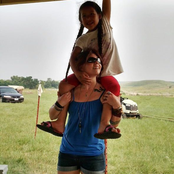 Child sitting on the shoulders of a woman