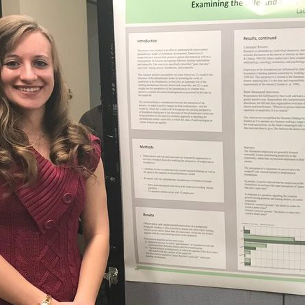 Anthropology Student presenting her research poster